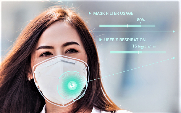 Photo 1 - A sensor to track users' respiration and mask filter usage.